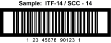 This is a sample of a ITF-14 / SCC-14 bar code used for shipping.